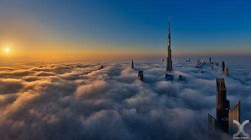 fog clouds sunrise nikon dubai khalifa hdr burj d800