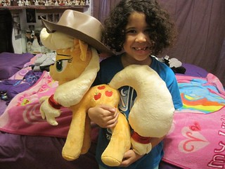 "My Little Pony Friendship is Magic custom Applejack Plush 21"" with my cutie holding her."