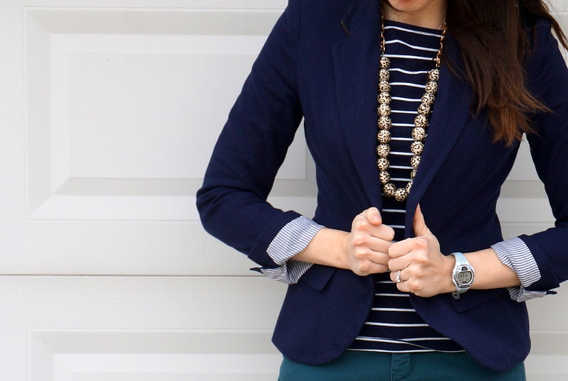 navy stripes and animal print necklace with blazer