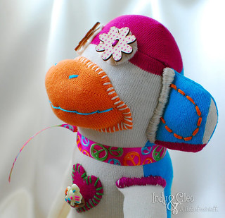 Handmade Sock Monkey Doll, Stuffed Animal Toy, Ecru, Multi~Color~Block Cotton, MAYBEL