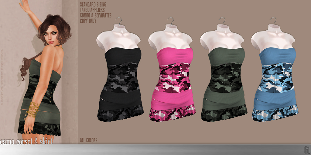 [girl thursday] camo corset & skirt