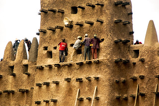 Annual repair of the world's largest mud brick building: the Great Mosque of Djenné in Mali.
