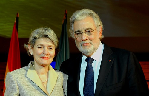 Irina Bokova, Director General of UNESCO, and Plácido Domingo, on the occasion of his appointment as Goodwill Ambassador of UNESCO, at the organisation's headquarters in Paris on 21 November 2012.
