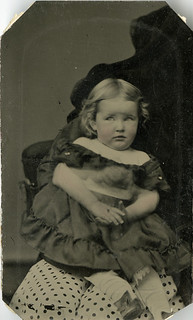 Ella May - Tintype of Aprehensive Girl with Hidden Mother