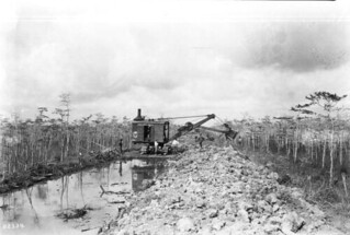 Steam shovel at work on the Tamiami Trail