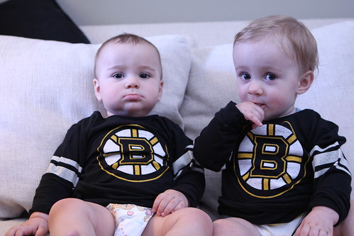 The Wombats in their Boston Bruins Jerseys