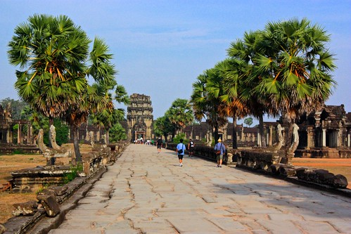the stretch of walkway that leads to Angkor Wat. The outer wall in the distance.