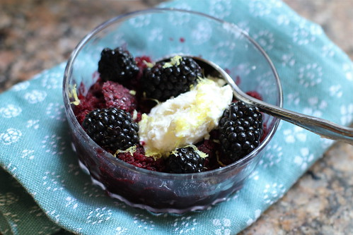 blackberries, lemon zest, and a dollop of mascarpone cream