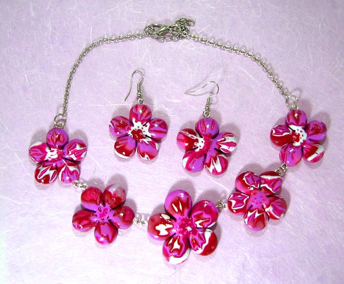 Polymer Clay Flowers Necklace and Earrings
