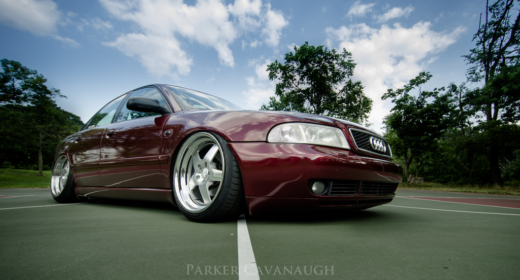 wine red audi b5 a4 s4 bagged klutch sl5 18x9.5 18x8.5 slammed dropped dumped bagged static coilovers hella flush stanced stance fitment low lowered lowest camber wheels tucked 16s 17s 18s 19s 20s 3piece 1 piece custom airbags scene scenester