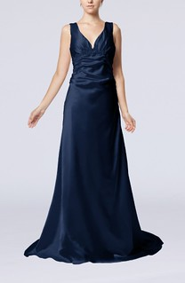 Elegant Column V-neck Sleeveless Elastic Woven Satin Appliques Evening Dresses | by xubangwen