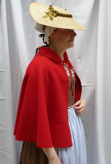 red wool broadcloth short cloak