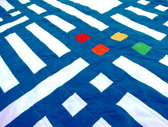 closeup of blue tape quilt