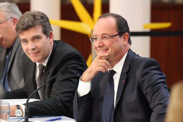François Hollande et Arnaud Montebourg, participaient à une table ronde sur les énergies marines renouvelables