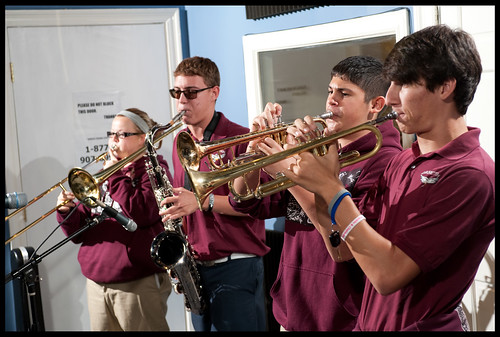 Chalmette High School Brass Band before Cuttin' Class at WWOZ. by Ryan Hodgson-Rigsbee (www.rhrphoto.com)