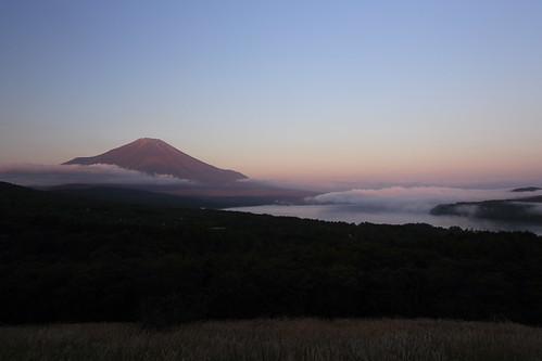 morning mountain lake sunrise fuji yamanakako