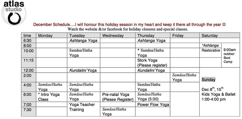 december schedule