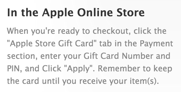 "Click the ""Apple Store Gift Card tab"""