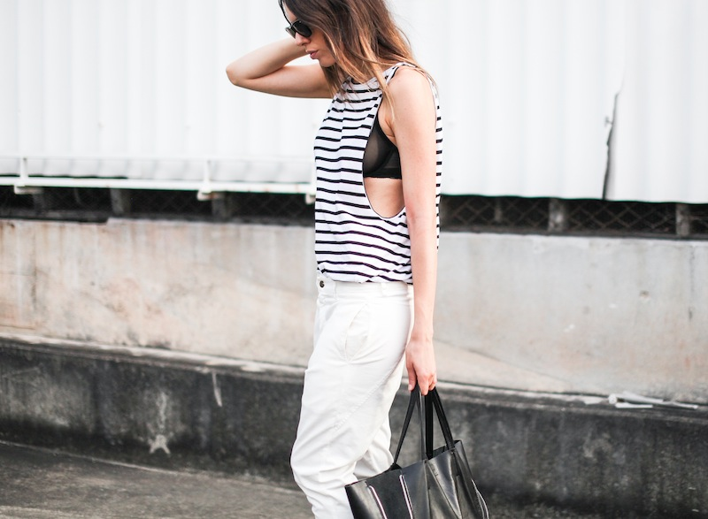 modern legacy fashion style blogger australia Bassike stripe lo slung jeans white mesh bra summer street style tall (6 of 11)