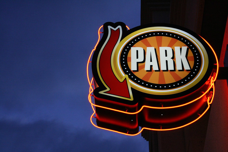 The sign for the surface parking lot behind Cicero's- image by Flickr user Allison Light