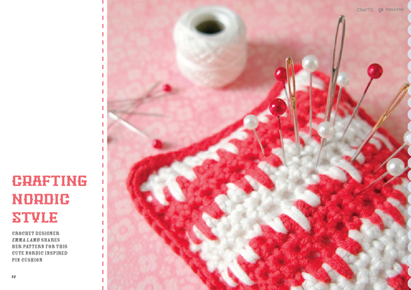 91Magazine Craft Special, January 2014 / Nordic pincushion crochet pattern | Emma Lamb
