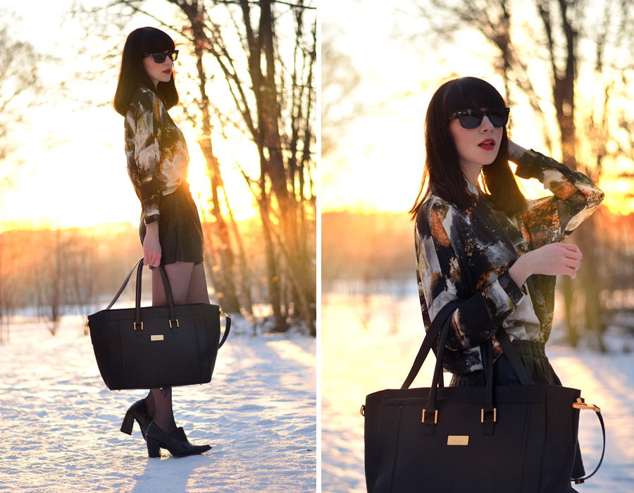 Fabros bag Mango shirt Zara shorts Topshop boots snow sunset CATS & DOGS fashion blog Berlin 2