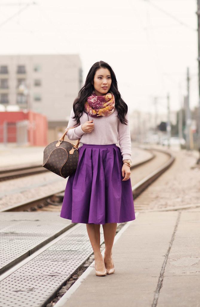 Spring Colors Purple Full Midi Skirt Cute Amp Little Dallas Petite Fashion Blogger