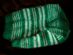 Green Stripey Mohair V-neck Sweater