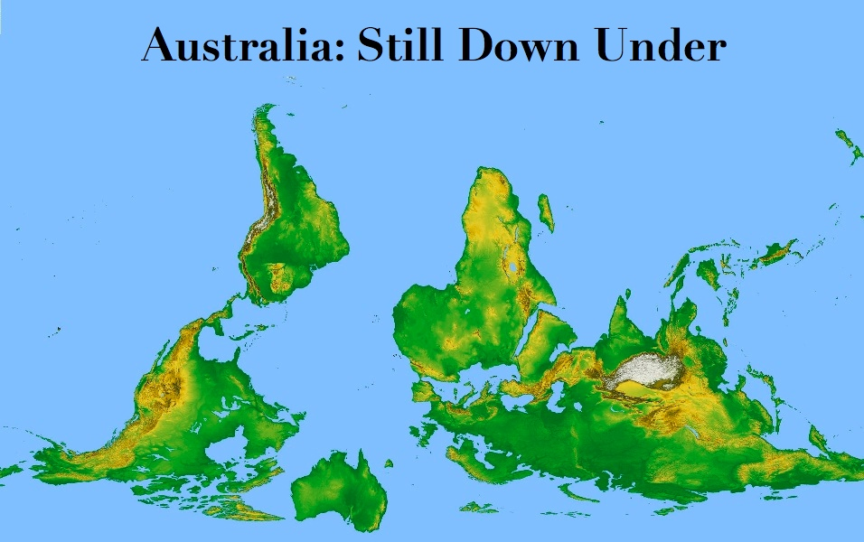 Afternoon map australia still down under on the occasion of the 35th anniversary of the famously upside down mcarthurs universal corrective map ive tried to put australia back where it belongs gumiabroncs Choice Image