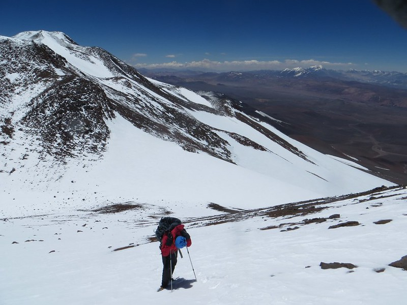Taking a rest on the climb to the UPAME summit (6800m) of Pissis