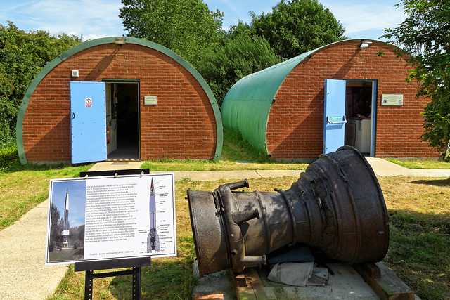 Remains of V2 rocket combustion chamber, Boxted Airfield Museum, Langham, Colchester, Essex, June 2013