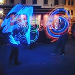 A poi display at the lantern parade on Jersey