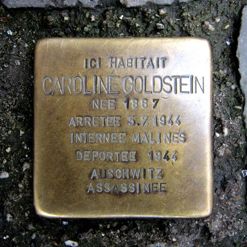 """""""Stolperstein"""" pavé en mémoire de Caroline Goldstein (Liège 2014)"""