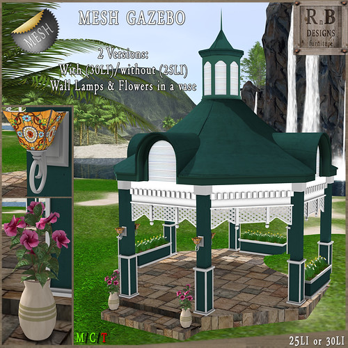 NEW ON SALE ! *RnB* Mesh Cambridge Gazebo - Teal (copy)