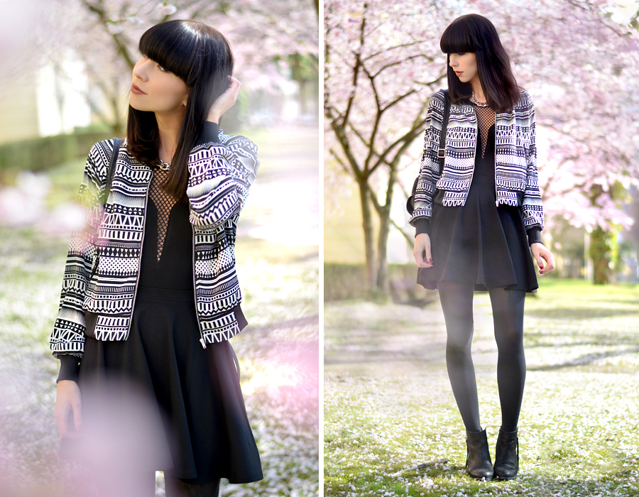 Tally Weijl outfit aztec blouson jacket black white skirt backpack 90s cool blogger CATS & DOGS berlin fashion blog 6