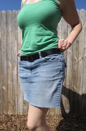 Denim Cut-off Skirt - After