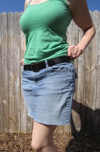 Denim Cut-off Skirt - After
