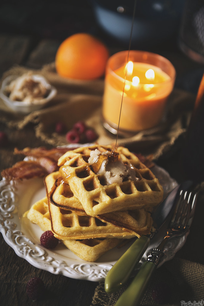 Cornmeal Buttermilk Waffles with Honey Butter \\ PasstheSushi.com