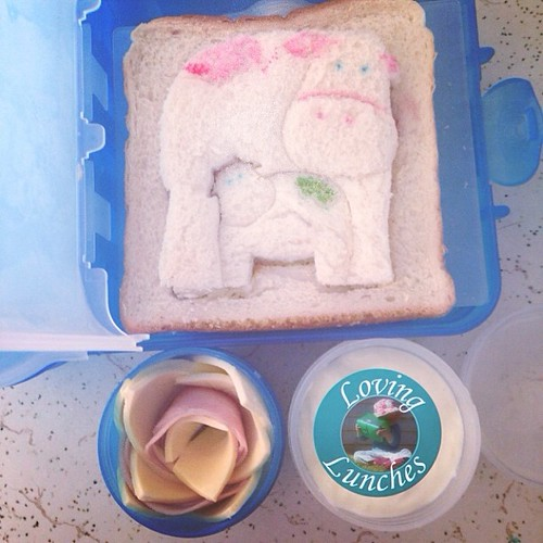 Loving a simple lunch today… quick and easy @thelunchpunch Sanger with ham and cheese flower & yoghurt. Served in @nudefoodmovers