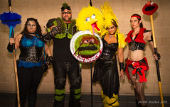 Tampa Bay Comic-Con 2015 Cosplay - WIZARDS OF COS - SESAME STREET SLAYERS - COOKIE MONSTER, OSCAR THE GROUCH, BIG BIRD, & ELMO
