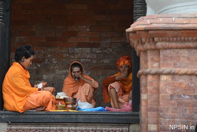 Sanyasi taking prasad in Shri Pashupatinath Mandir