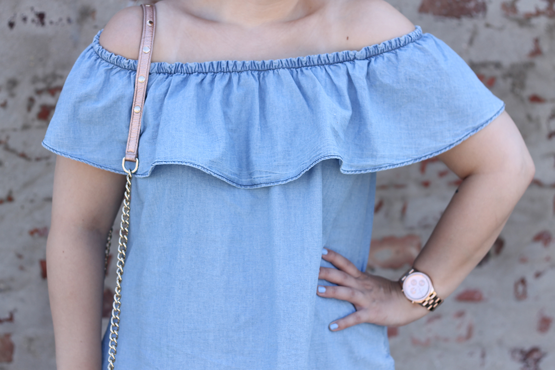 modeblog-fashionblog-outfit-look-style-jeanskleid-rosegold-tasche-rebecca-minkoff-mar-jacobs-uhr