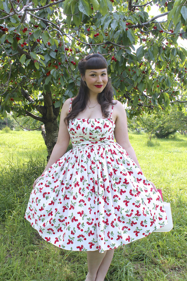retro cherry dress