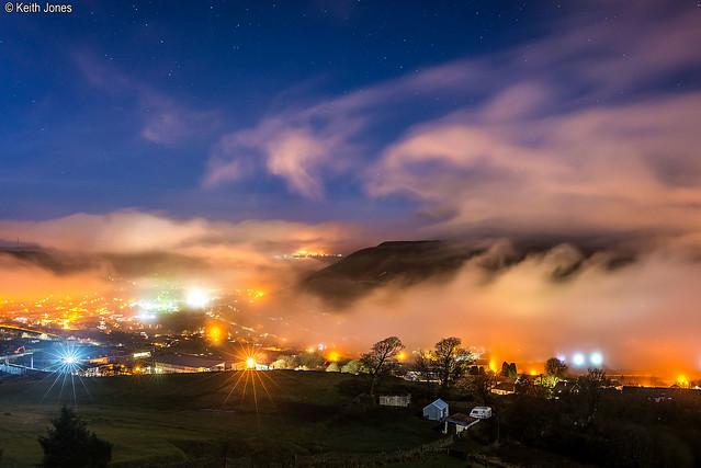 Foggy view towards Penrhys from Penygraig