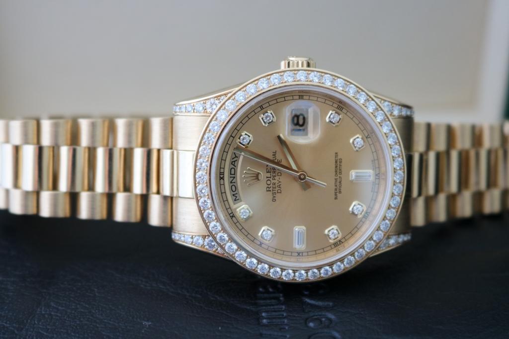Đồng hồ rolex day date 6 số 118338 – Vàng 18k yellow – Vỏ hạt xoàn – Size 36mm