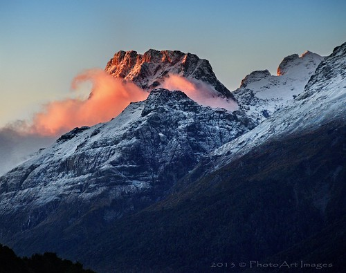sunset mountains redcloud glenorchy snowcappedmountains nzsouthisland photoartimages
