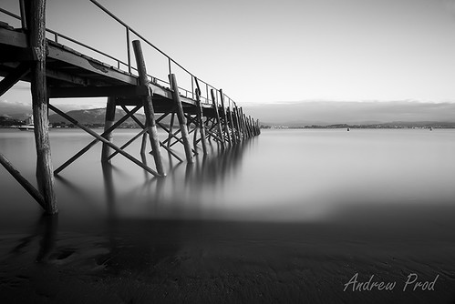 longexposure blackandwhite pier spain waterblur
