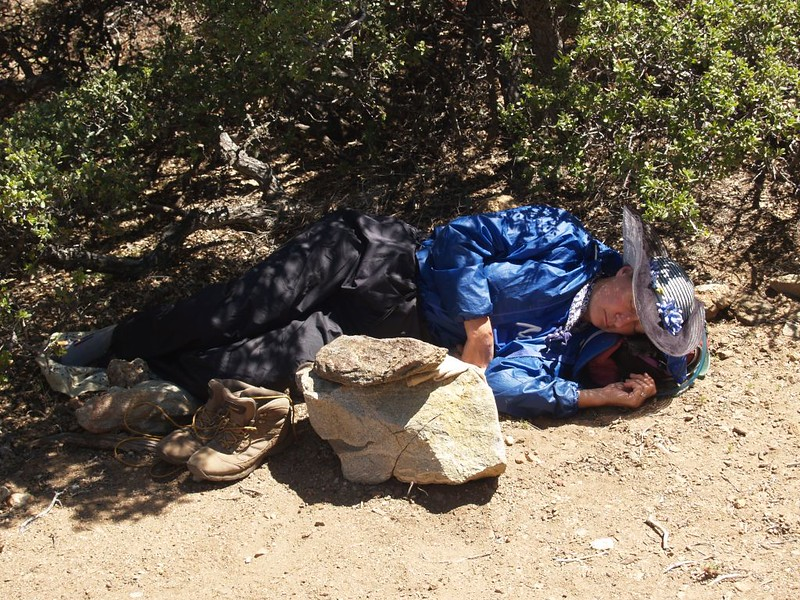 Vicki taking a nap on the PCT at the junction with the Live Oak Spring Trail - 4E04