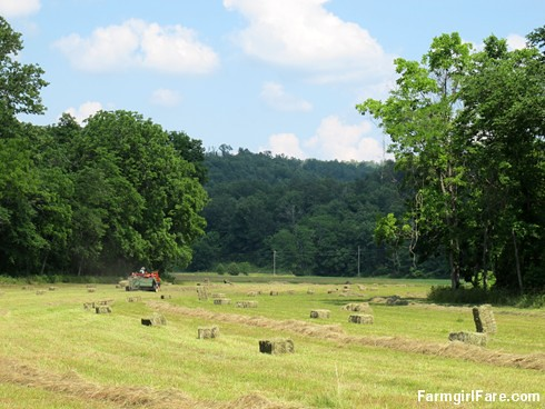 (31-13) Baling up the third cutting of hay on a very hot day - FarmgirlFare.com