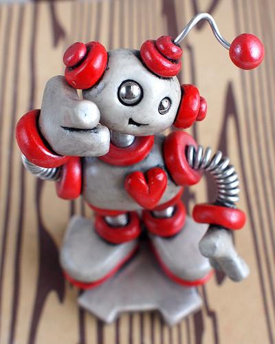 Silver Sis Mini Robot Sculpture by HerArtSheLoves